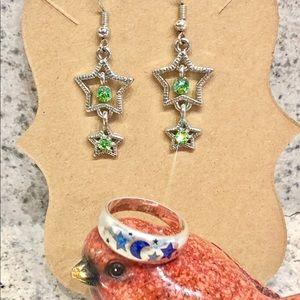 Jewelry - 5/$25 Silver Moons & Stars Dangle Earrings & Ring